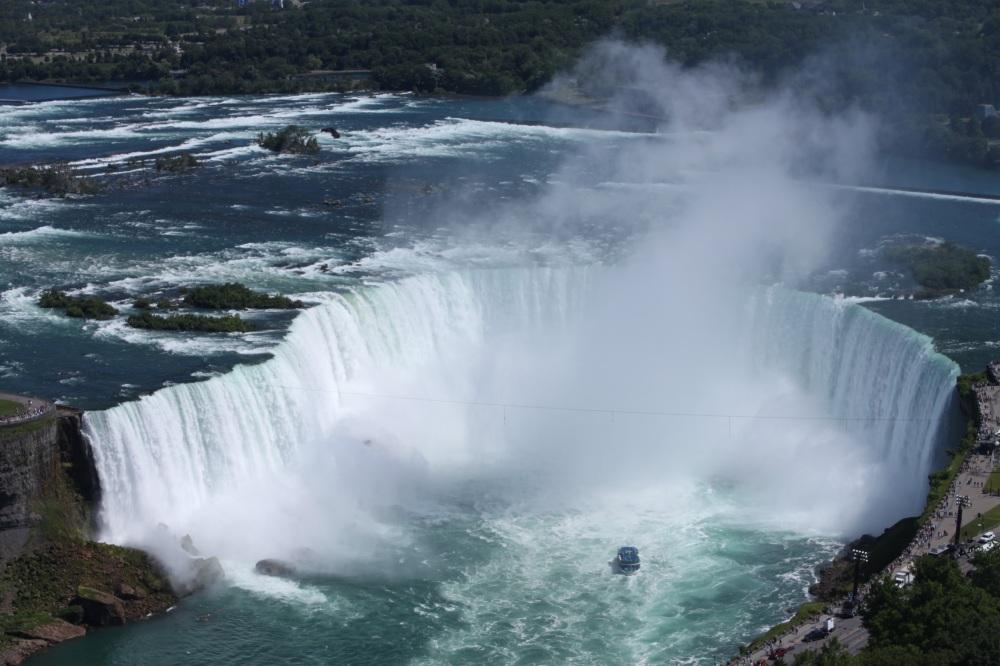 High up shot of Horseshoe Falls in Niagara Falls Ontario