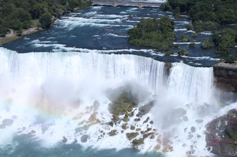 Overview shot of American Falls in Niagara Falls, Ontario